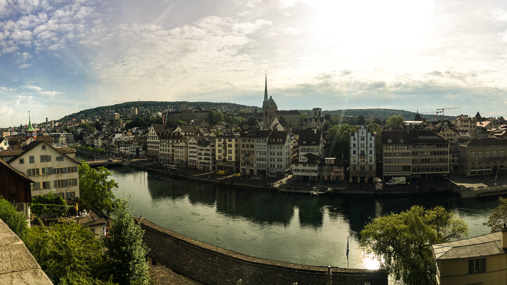 Limmat river from the Lindenhof overlook in Zürich, Switzerland